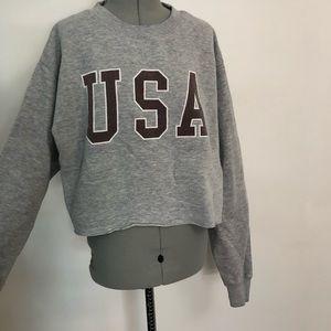 Brandy Melville Cropped USA Sweatshirts